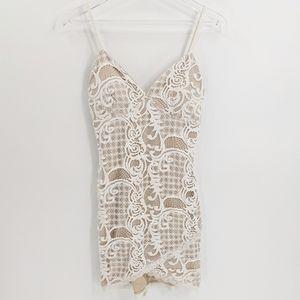 L'Astiste Crochet Lace Nude Mini Bodycon Dress